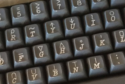 Close-up of an APL keyboard