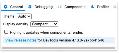 react dev tools settings